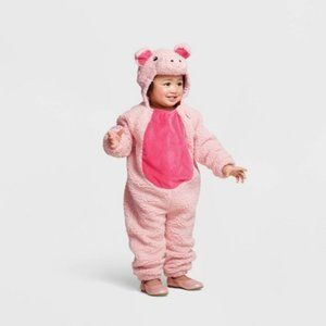 Infant Pig plush pink onesie hooded costume